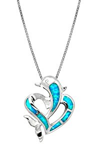 Sterling Silver Dolphin Heart CZ Necklace Pendant Synthetic Blue Opal