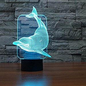 Saiam 3d Lamp Desk Table Light Cute Lovely Dolphin Shapes 7 Colors