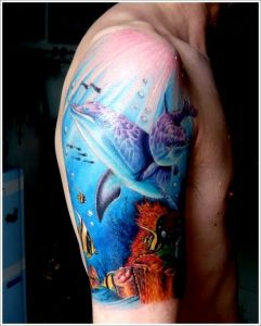 Half Sleeve Dolphin Art